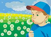 a little boy blowing on a dandelion
