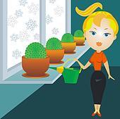 blonde woman watering cactuses