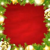 Christmas Red Background With Fir Tree Border