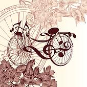 Fashion background with abstract bike with notes and flowers for