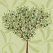 Floral pattern with an olive tree