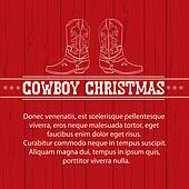 American Red Christmas background with cowboy boots and text.