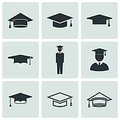 Vector black academic cap icons set
