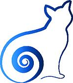 Blue cat swirl tail