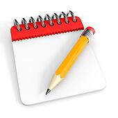 Notepad and pencil.