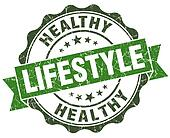 Healthy lifestyle green grunge retro vintage isolated seal