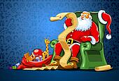 santa claus sitting in chair with sack of gift