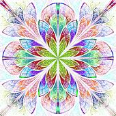 Multicolor fractal pattern in stained glass window style. Comput