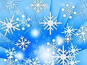 Blue Snowflakes Background Shows Weather Freezing And Winter