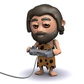 3d Caveman plays a video game