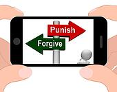 Punish Forgive Signpost Displays Punishment or Forgiveness