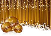 gold christmas background with snowflakes and christmas balls