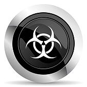 biohazard icon, black chrome button, virus sign