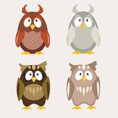 Cute Owls set Flat Vector