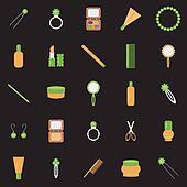 lady's objects on black background
