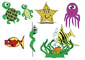 sea creatures in cartoon style