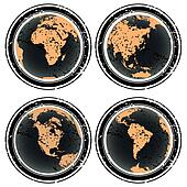 Rubber stamps with Earth globes