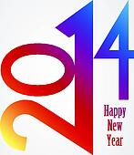 Happy New Year 2014 rainbow illustration