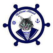 Tomcat sailor on steering wheel