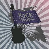Rock festival banner with guitar and flag