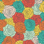 seamless pattern colorful vintage roses. ?