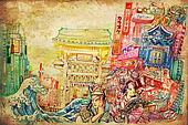 Japan art and culture background collage illustart a beautiful drawing of Japanese culture architecture art and painting in the one picture on texture paper