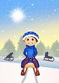 child on sleigh