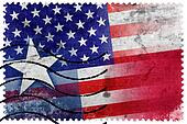 USA and Texas State Flag - old postage stamp