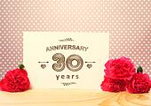 30 years anniversary card with pink carnations