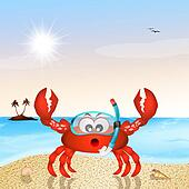 crab with scuba mask