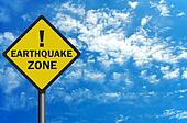 Photo realistic 'earthquake zone' sign, with space for text overlay