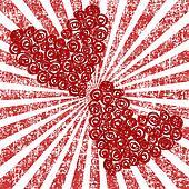 Abstract stylized roses hearts over grunge sunburst background