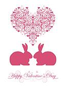 Happy Valentines Day Honeysuckle Pink  Bunny Rabbit