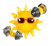 3d Sun weightlifter