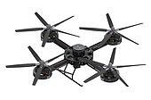 black quadcopter drone with camera