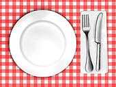 tablecloth with plate and cutlery