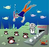 Illustration with the diver seen un