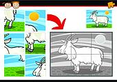 cartoon goat jigsaw puzzle game