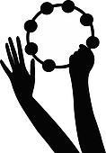 hands playing tambourine, vector