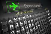 Black departures board for eastern