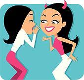 Two girls gossiping Illustration