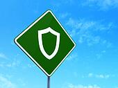 Safety concept: Contoured Shield on road sign background