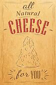 Poster all natural cheese kraft