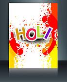 Happy Holi Brochure template reflection grunge colorful card celebration vector