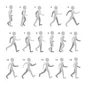 Phases of Step Movements Man in Walking Sequence for Game Animation on white