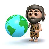 3d Caveman with a globe of the Earth