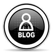 blog icon, black chrome button