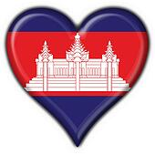 cambodia button flag heart shape