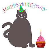 Happy Birthday Cat with Hat Cupcake and Candle
