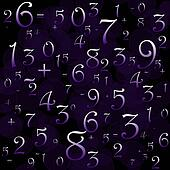 Maths numbers and signs on black background